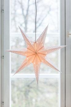 Adventstjerne hvit med glitter