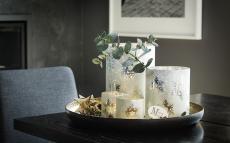 Winterland lykt med snøfnugg dekor H18, Ø15 cm