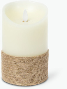 Flame LED blockljus med snöre H: 15 cm Ø: 9 cm