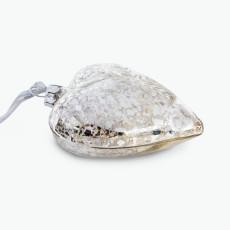 Julpynt glashjärta med snöflinga 4 st