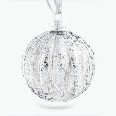 Julpynt glaskula med glitterstreck 4 st