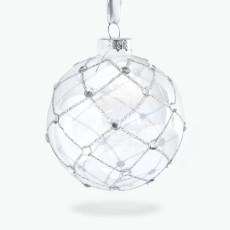 Julpynt glaskula med kristaller 4 st