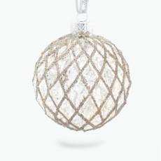 Julepynt glasskule vaffelmønstret 4 stk