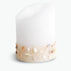Flame LED blockljus vitt med sanddekor 10 cm