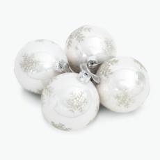 Julekule hvit m/snøkrystall i sølv 4 stk