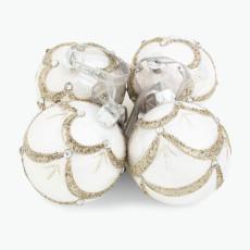 Julekule hvit m/sølvdekor 4 stk