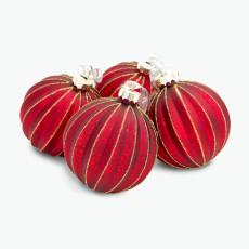 Julkula röd med guldstreck 4 st