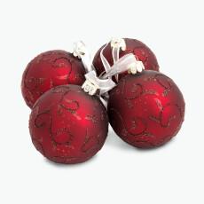 Julkula röd med mönster 4 st