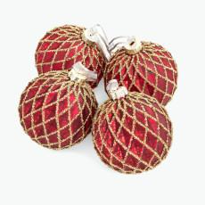 Julkula röd med guldrutor 4 st