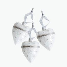 Julepynt hjertemedaljong hvit 3 stk