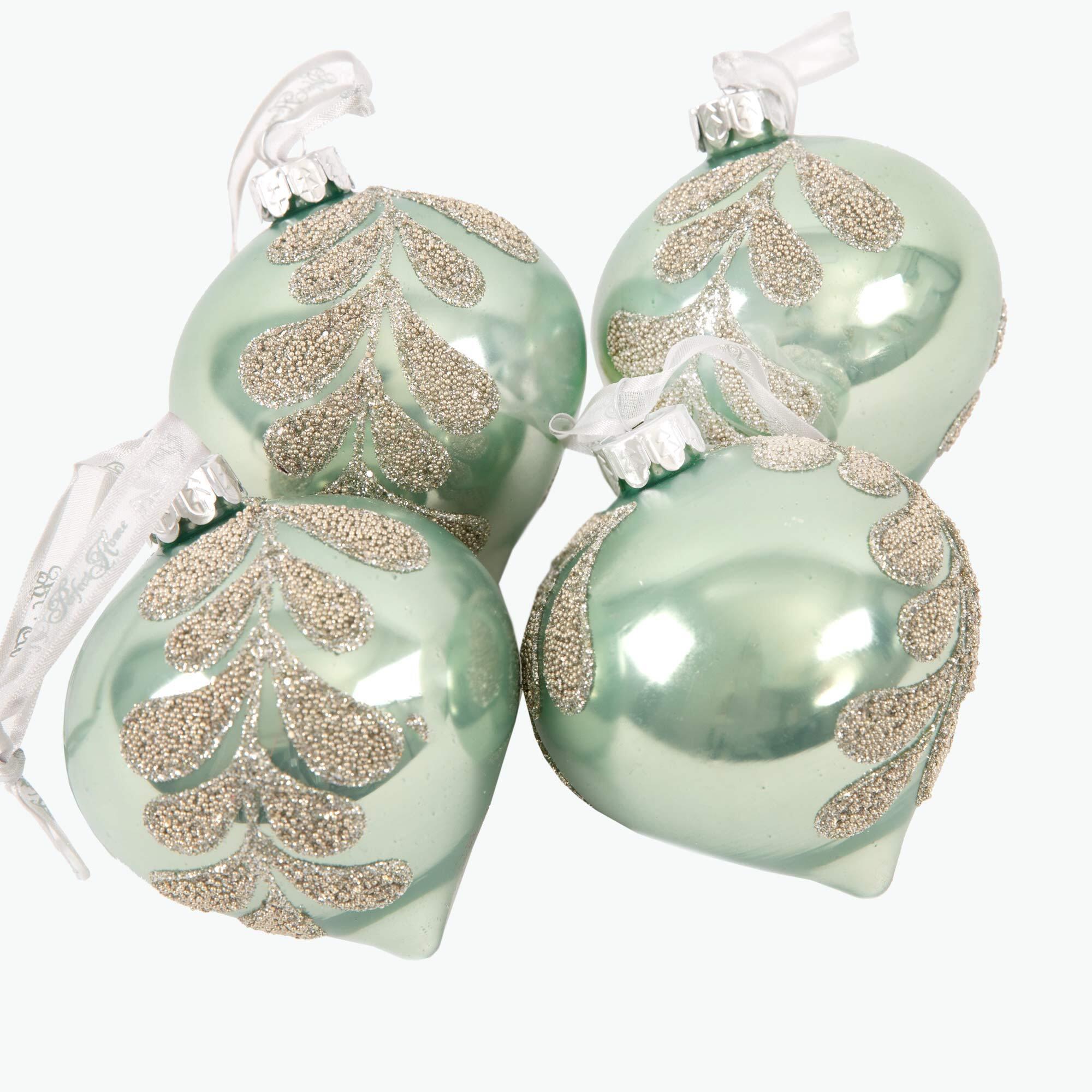 Julepynt løkformet grønn 4 stk
