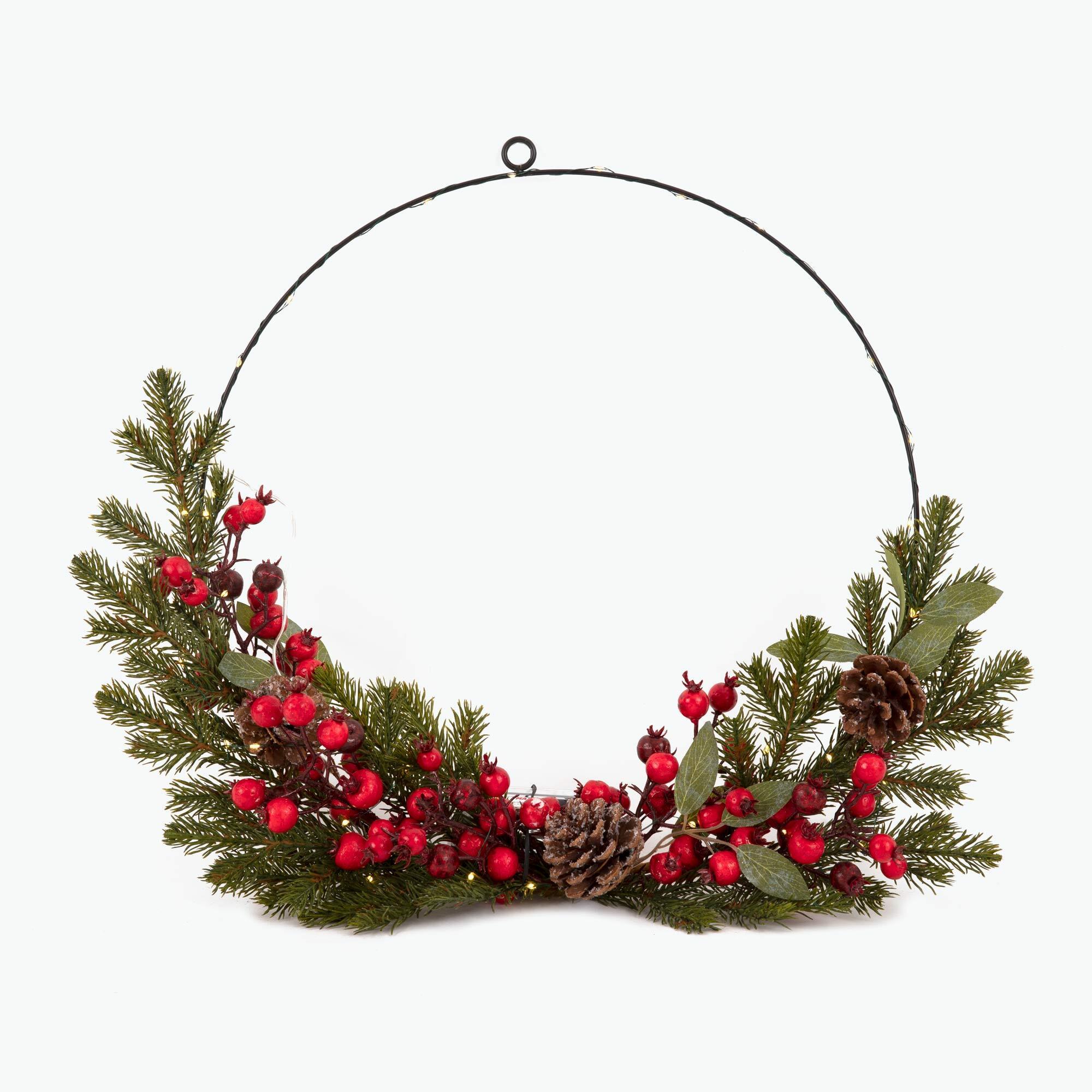 Christmas joulukranssi LED-valoilla 40 cm