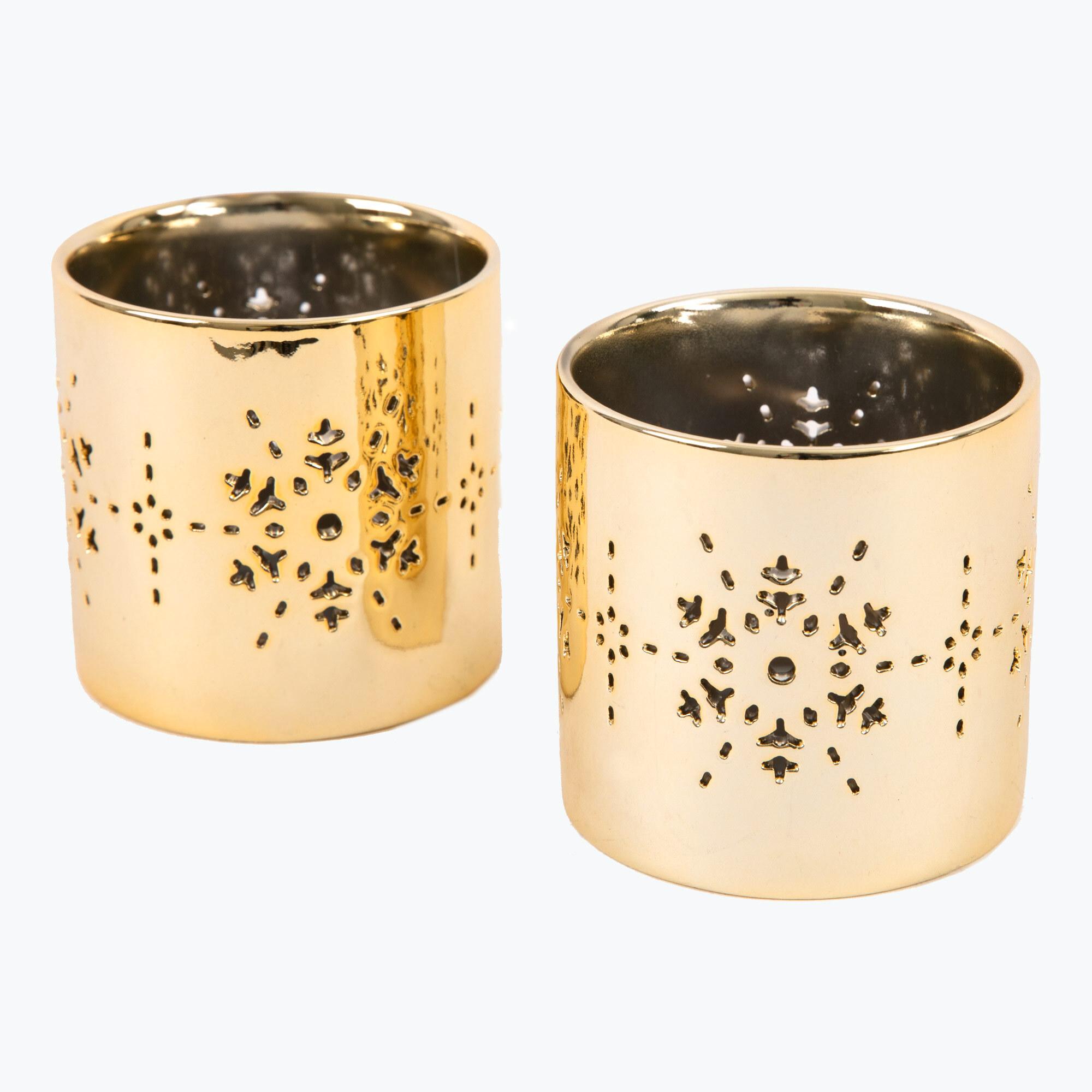 Golden Snowflake kynttilänlyhty 2 kpl