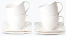 Vit Lilja kahvikuppi ja lautanen 4 kpl