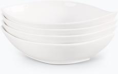 Hvit Lilje oval frokostskål 4 stk