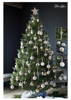 Juletre 185 cm m/hvit/sølv julepynt