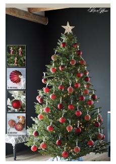 Juletre 185 cm m/rød julepynt