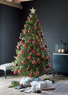 Juletre 185 cm med rød julepynt og lyslenke