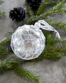 Julepynt glasskule m/krystaller 4 stk